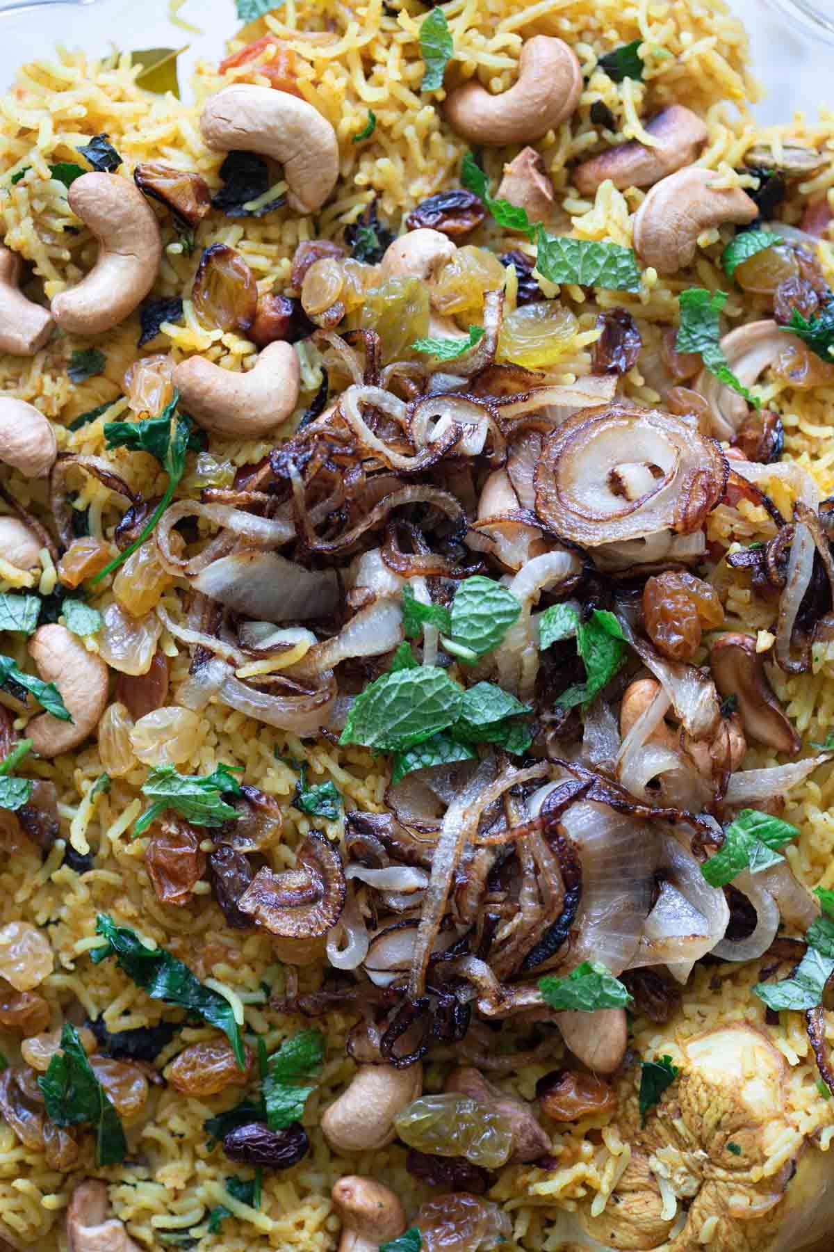 close up of chicken biryani rice