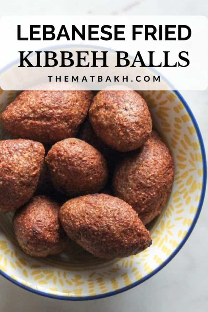 lebanese fried kibbeh balls pinterest image