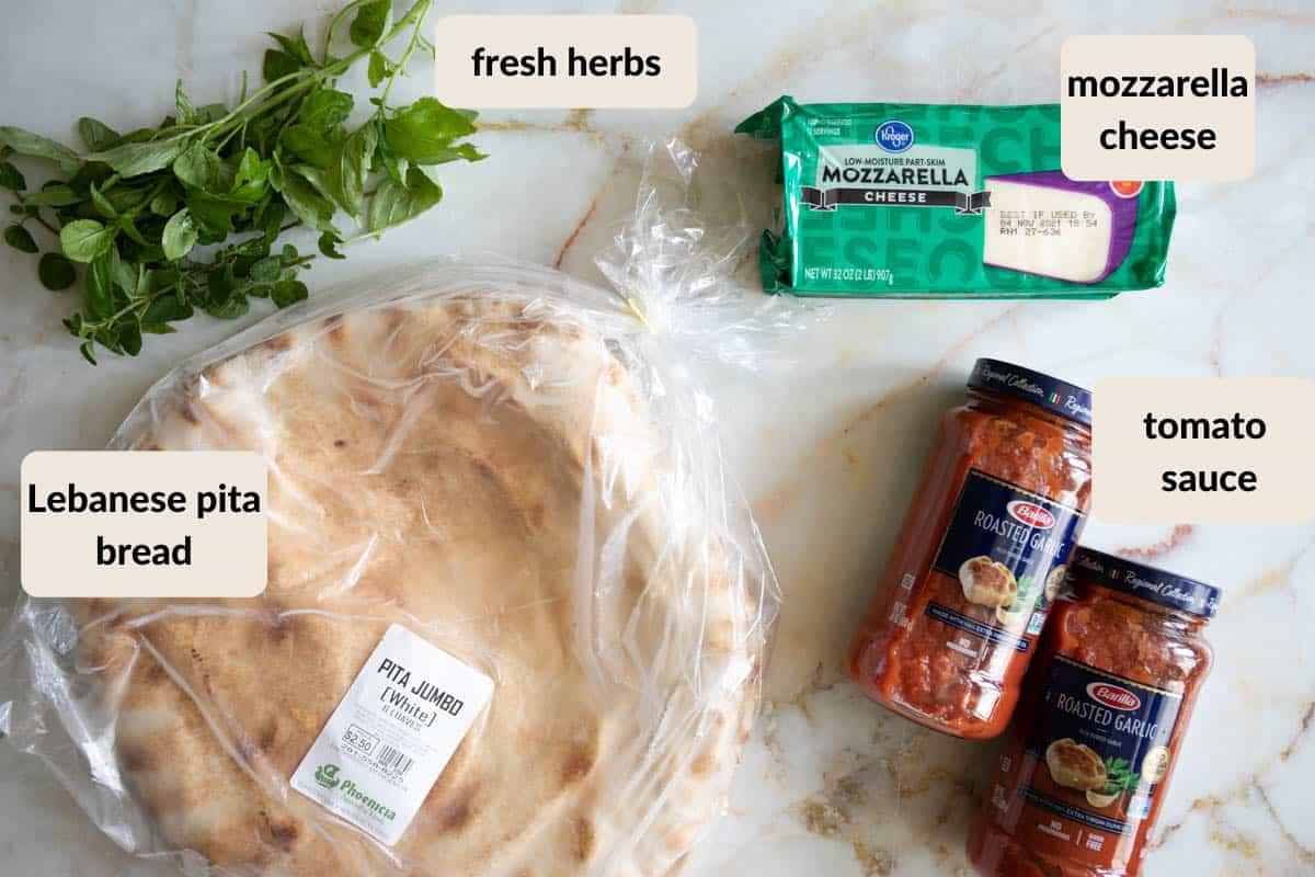 ingredients shot for making pita pizzas
