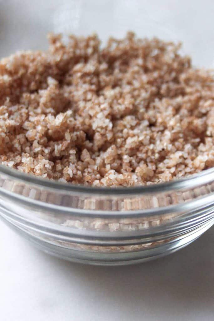 bulgar wheat in a glass bowl
