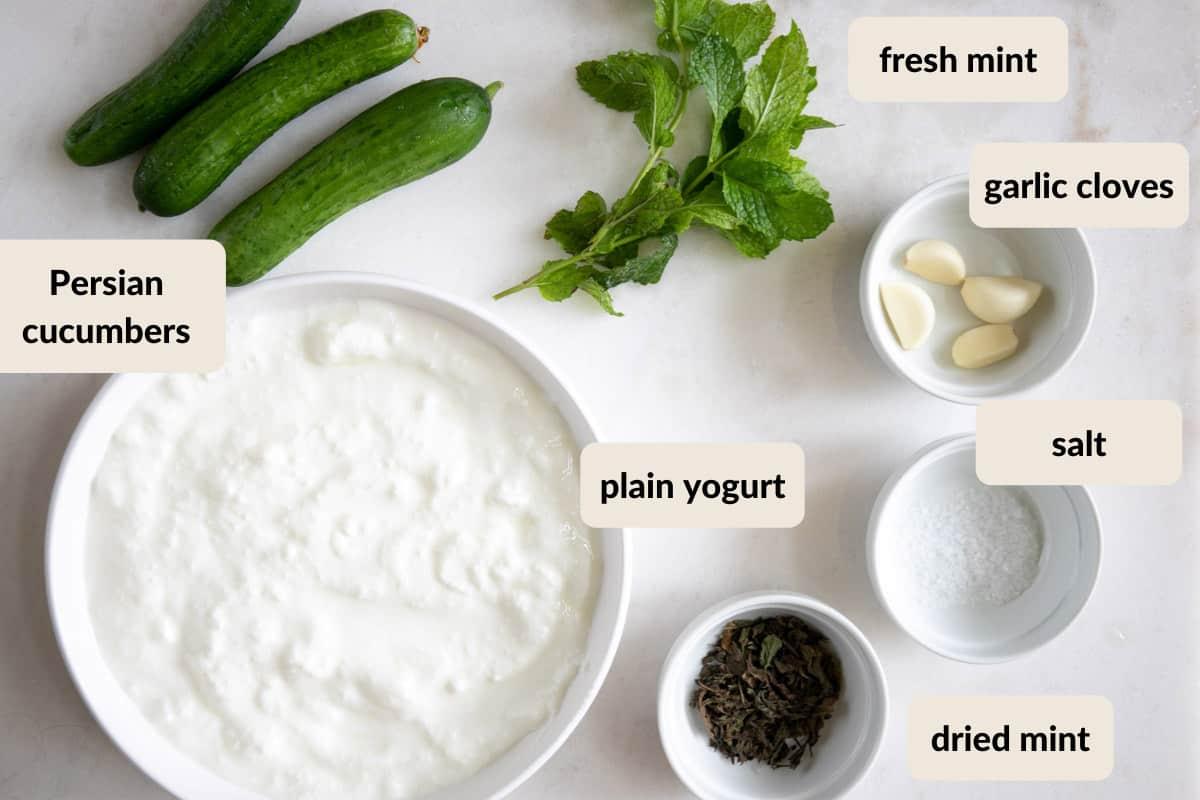 ingredients needed to make cucumber mint yogurt