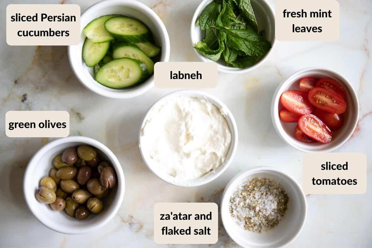 labneh pita sandwich ingredients labeled