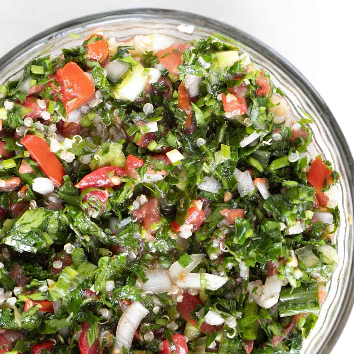 quinoa tabbouleh parsley salad close up