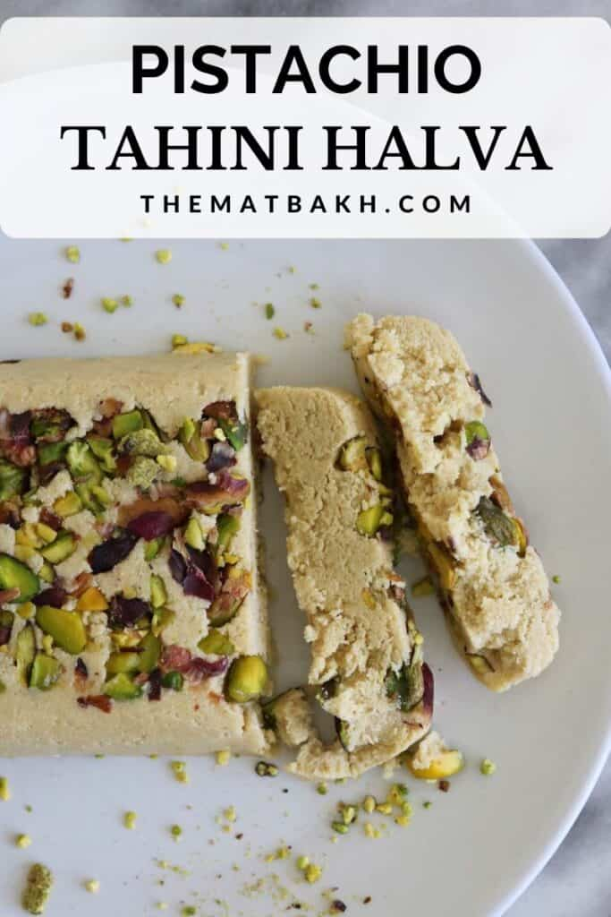 tahini pistachio halva pinterest pin