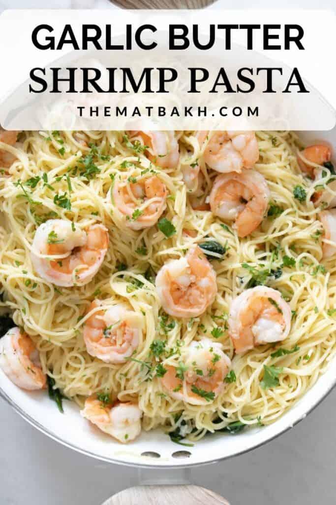 garlic butter shrimp pasta Pinterest pin