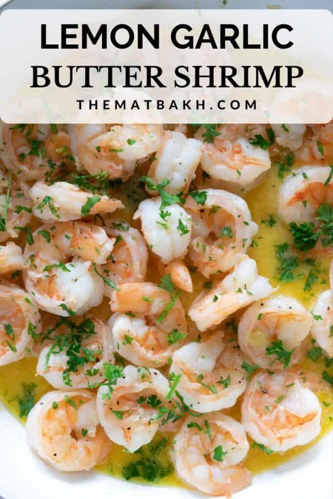 Pinterest pin for garlic lemon butter shrimp