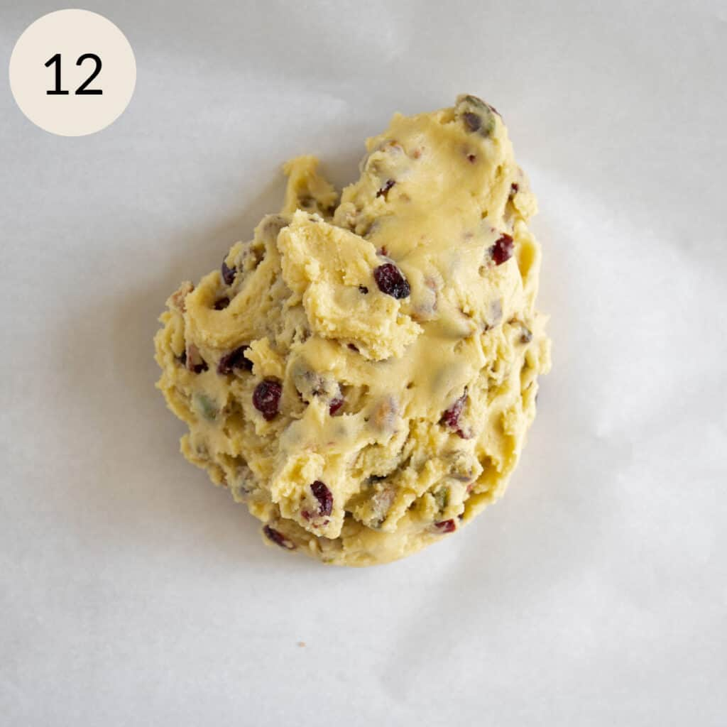 transfer the biscotti dough to a parchment paper on a cookie sheet