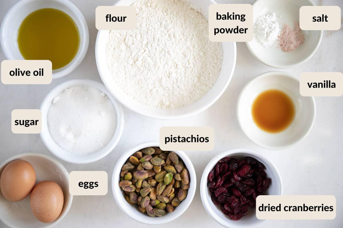 ingredients needed to make cranberry pistachio biscotti
