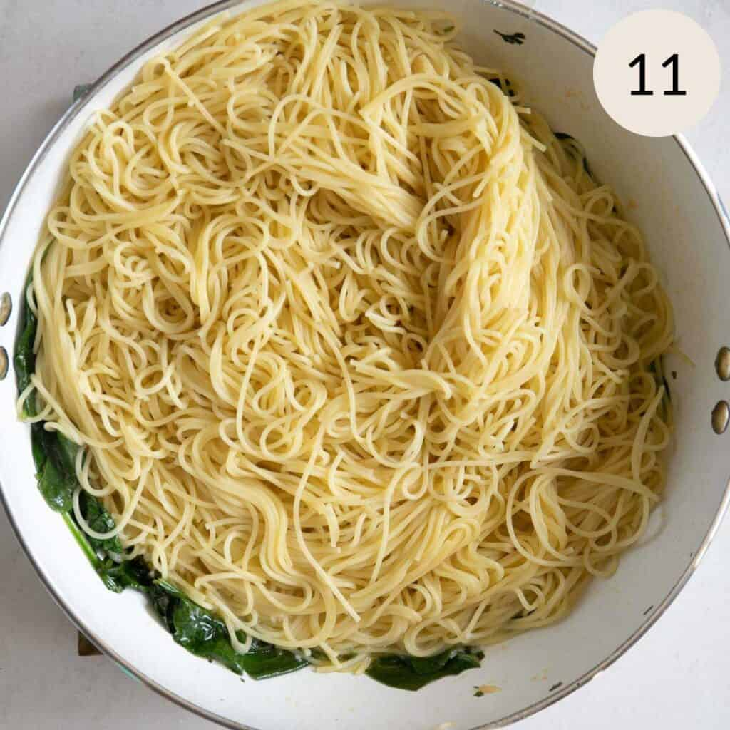 add the cooked angel hair pasta
