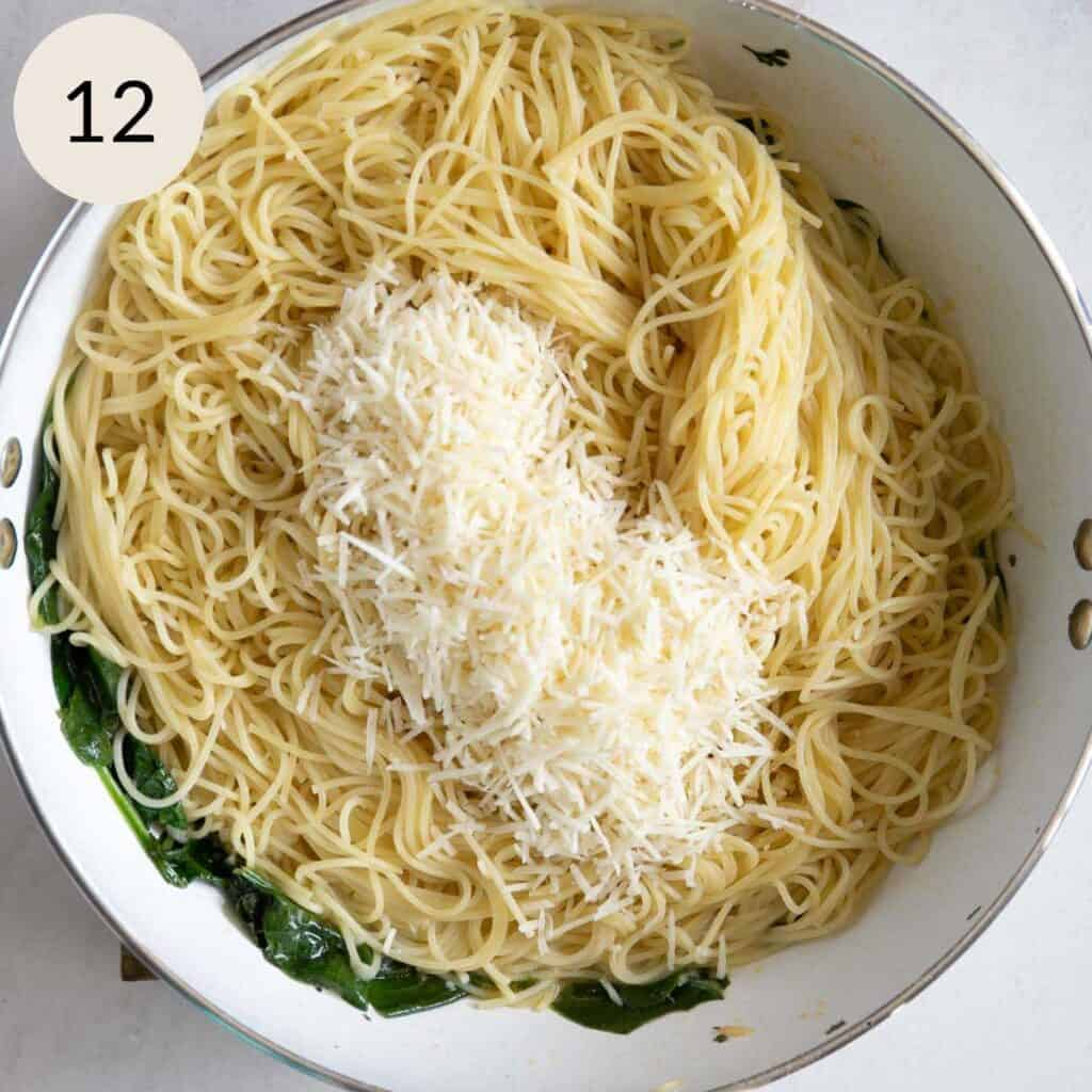 add the freshly grated parmesan cheese