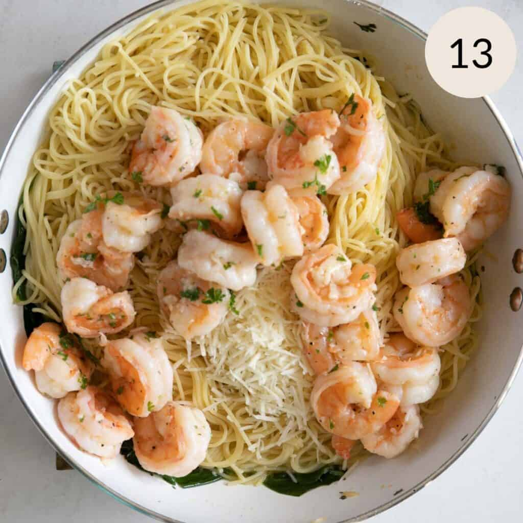 add the garlic shrimp to the pasta