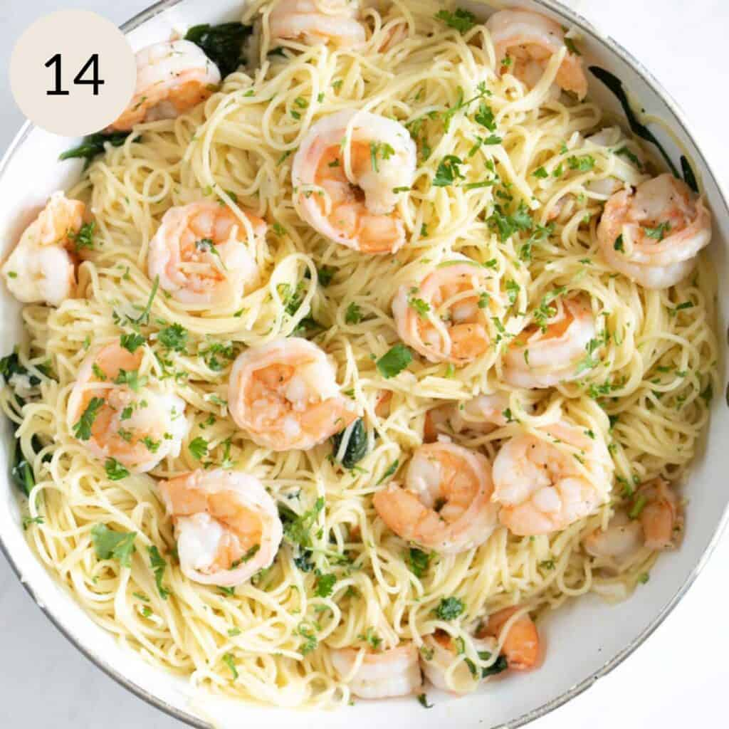 mix the angel hair pasta, parmesan cheese, and garlic shrimp together well