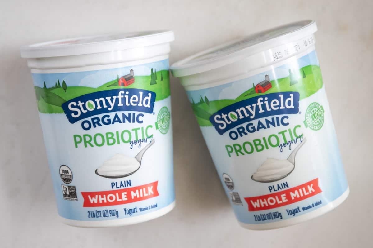 full fat plain yogurt used to make labneh