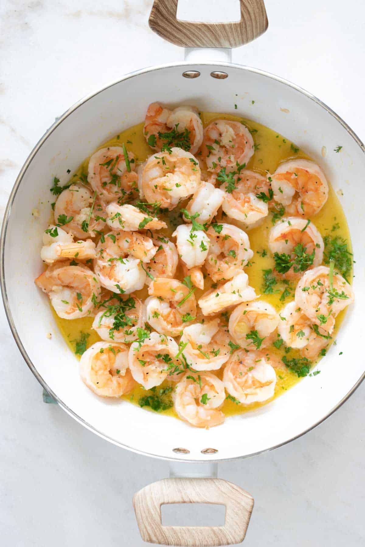 sautéed garlic butter shrimp in a nonstick pot