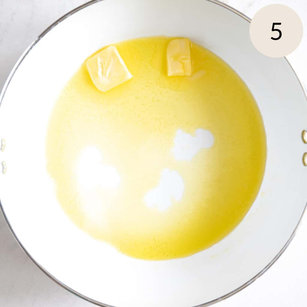 melt the butter and olive oil in a nonstick pan