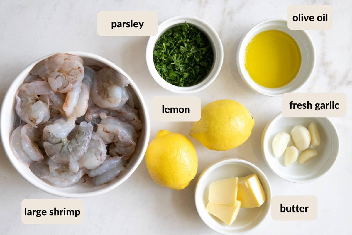 ingredients laid out for lemon garlic butter shrimp