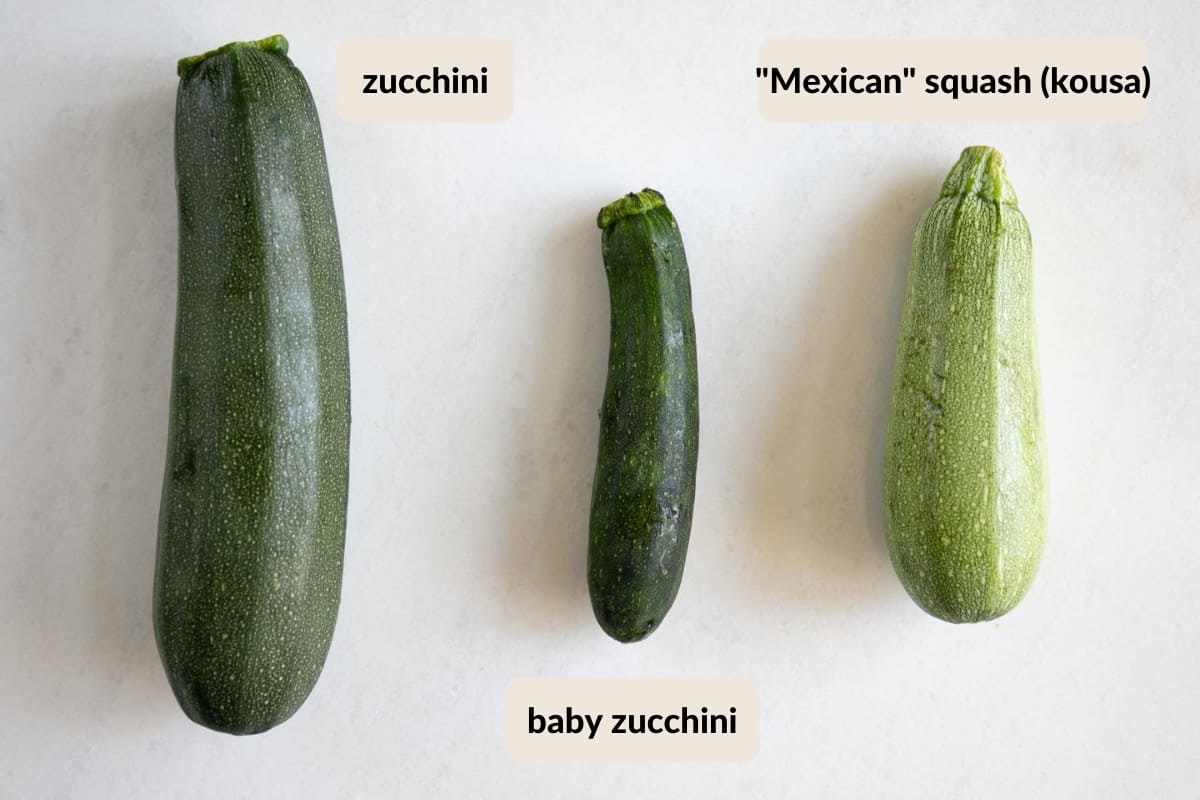 different types of squash suitable to make mahshi sliced kousa