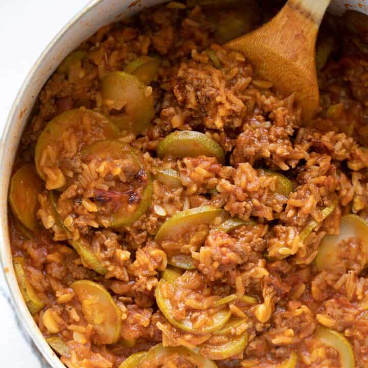 close up view of squash, rice, minced meat casserole