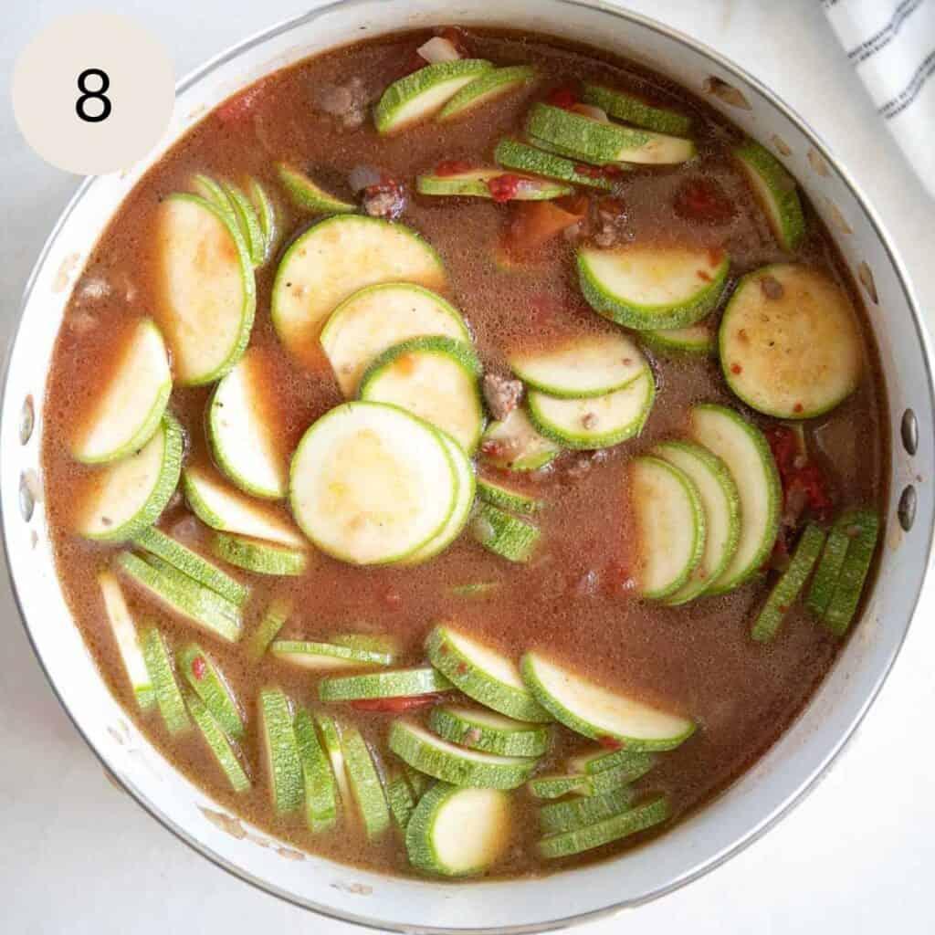 add water to the mahshi sliced kousa