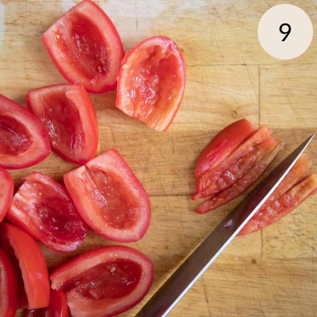 slice the Roma tomatoes longways