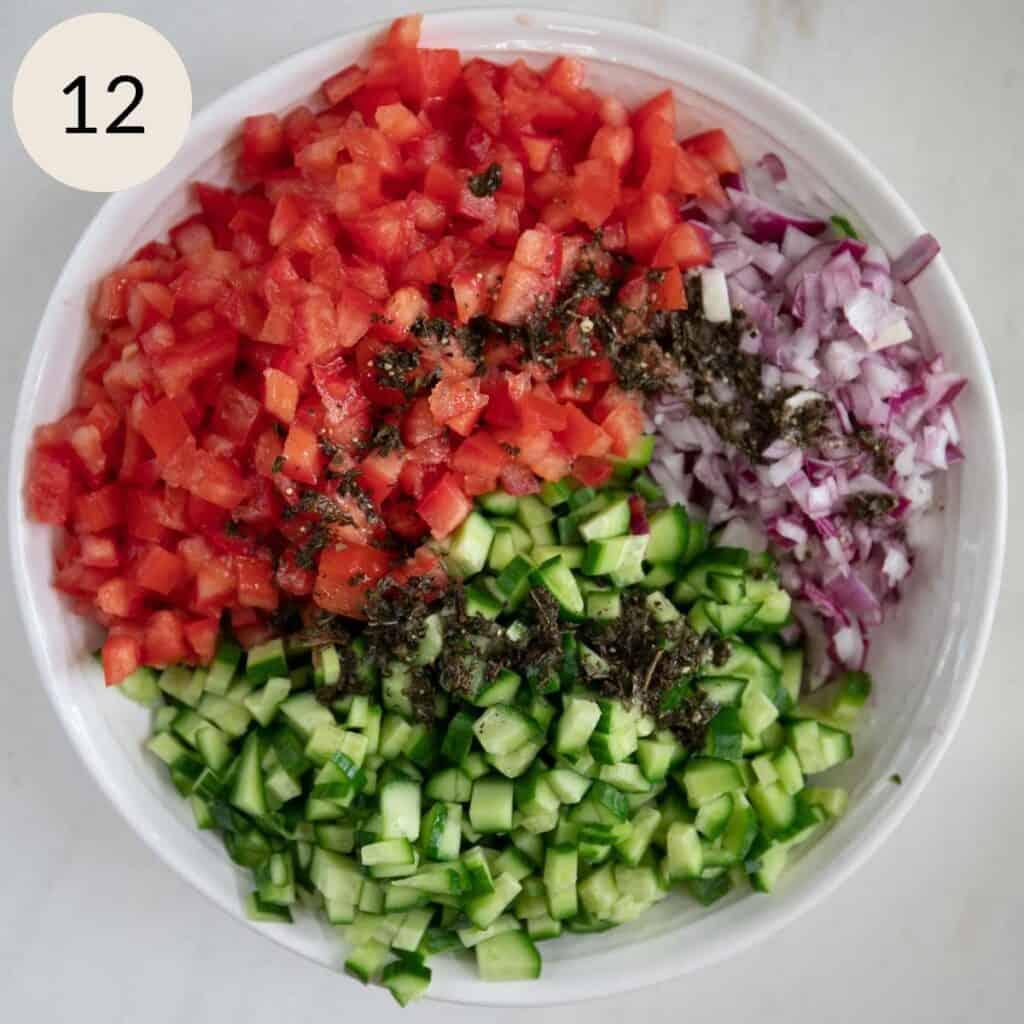 pour the lemon juice and dried mint mixture over the salad