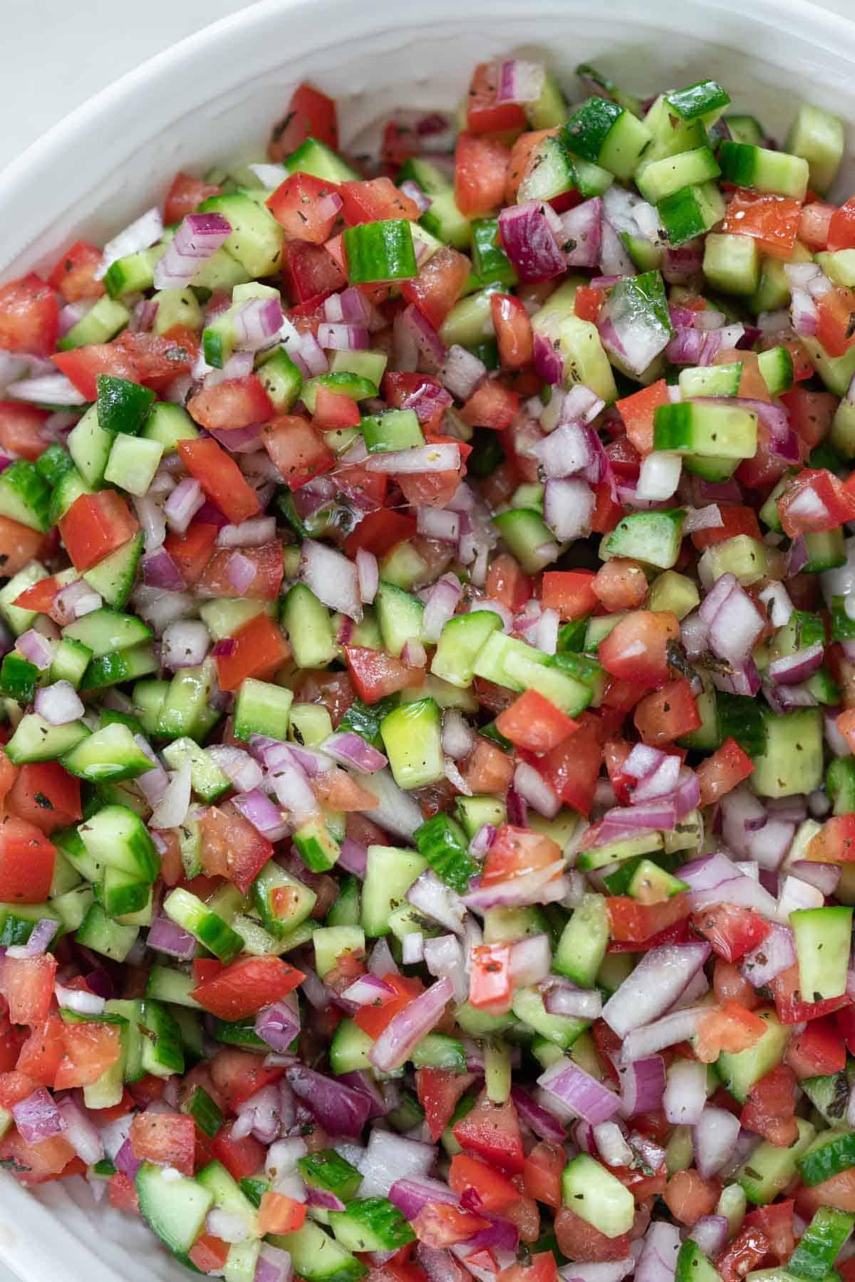 shirazi persian salad close up