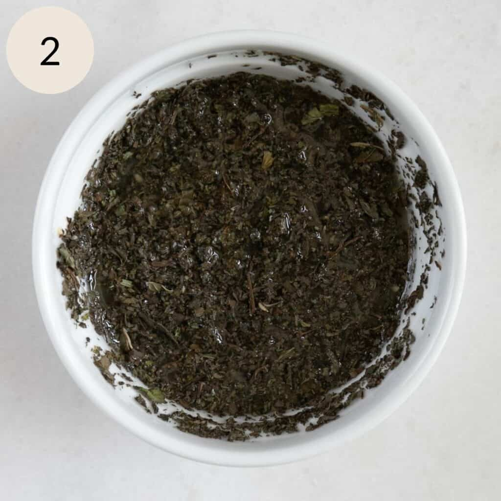 mix the dried mint, salt, pepper, and freshly squeezed lemon juice