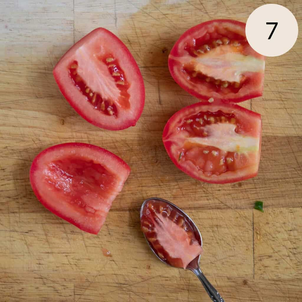 scoop out the seeds of the Roma tomatoes