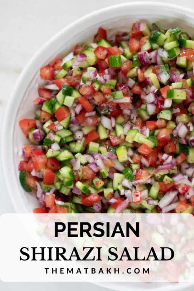 pinterest image for persian shirazi salad