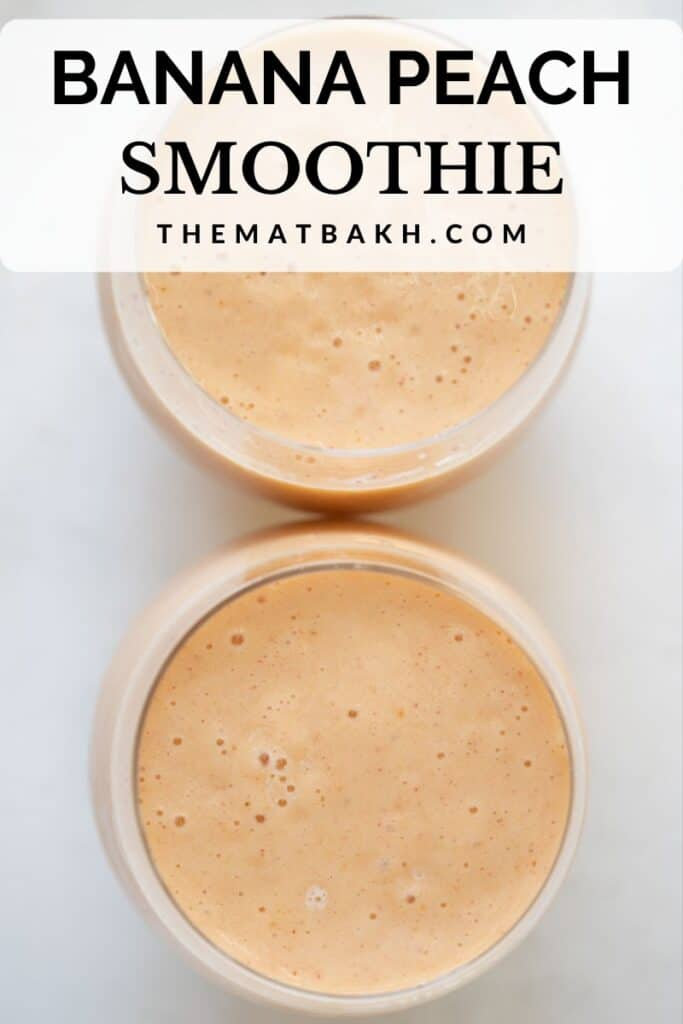 peach and banana smoothie pinterest pin
