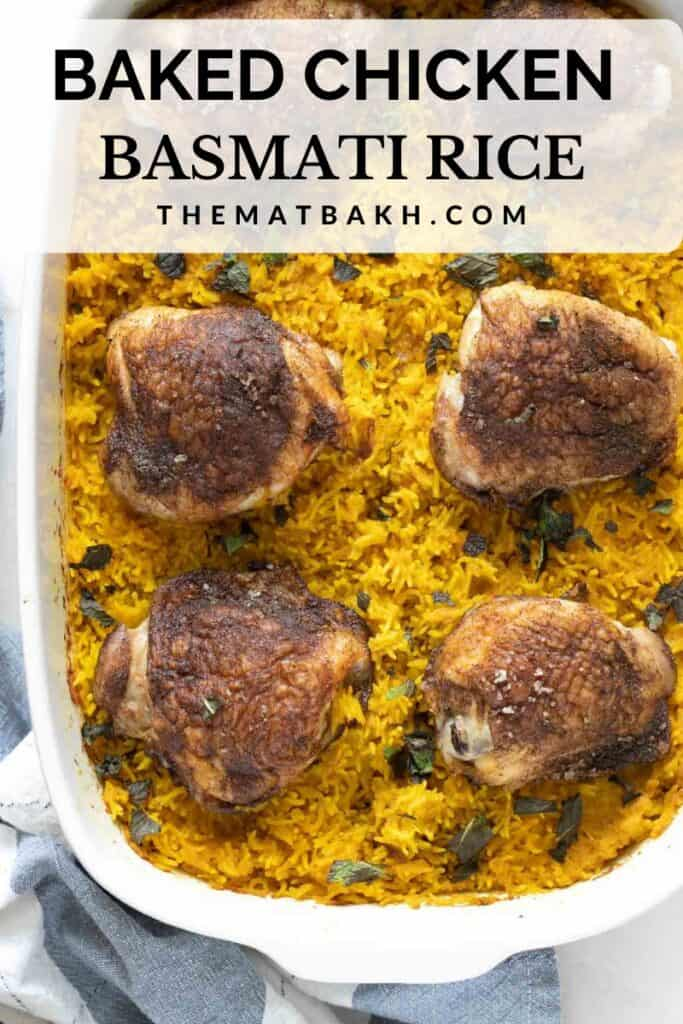baked chicken thighs and turmeric basmati rice