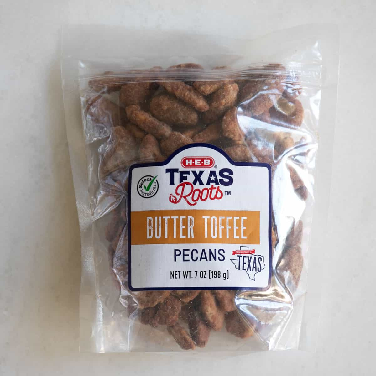 butter toffee pecans in a bag