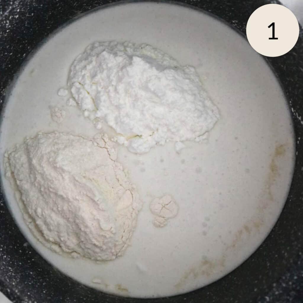 adding flour and cornstarch to cold milk and cold cream