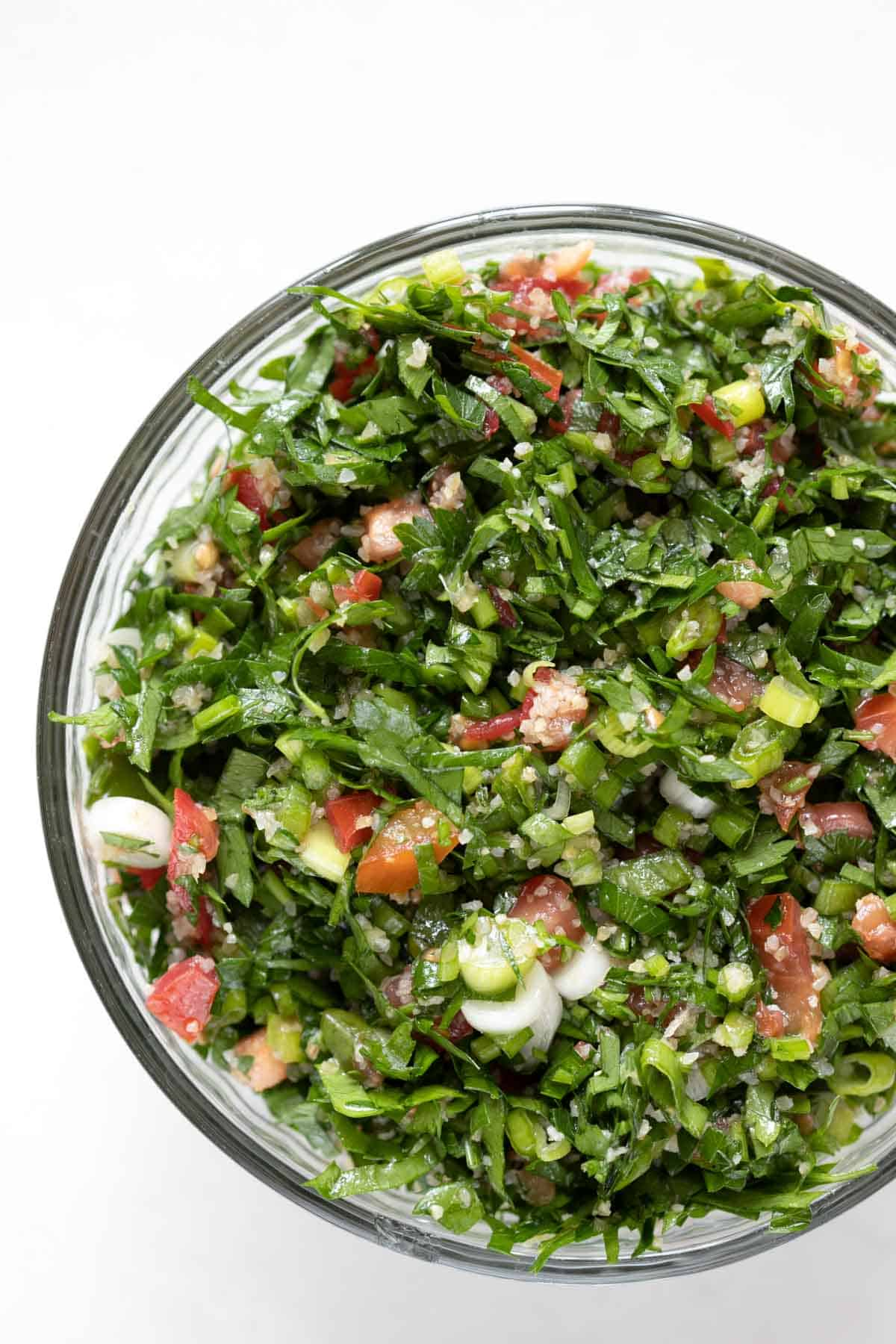 authentic Lebanese tabouli in a glass bowl
