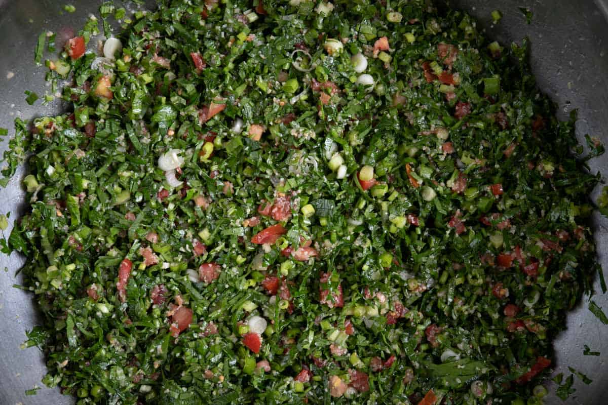 mixed tabouli in a bowl