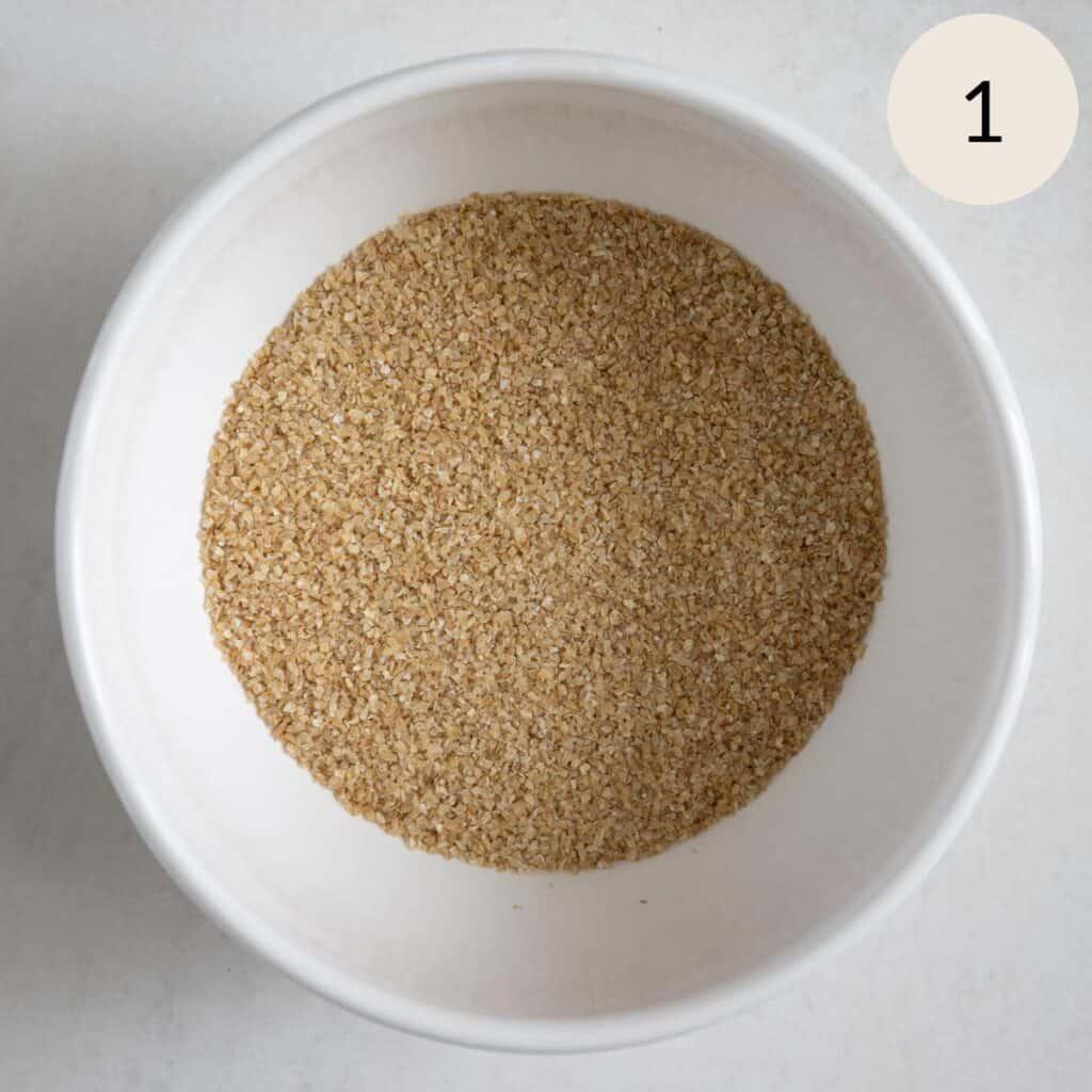 dry bulgar wheat in a bowl