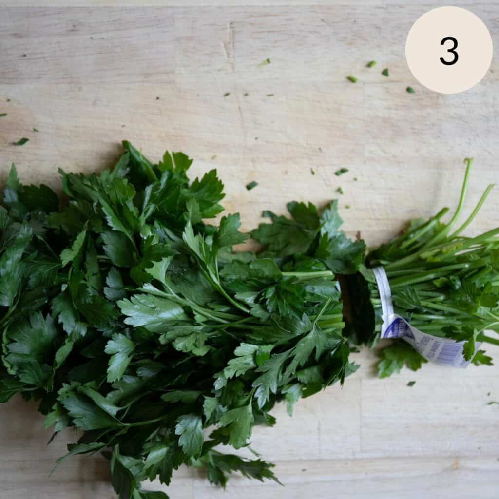 cutting the stems off the Italian parsley