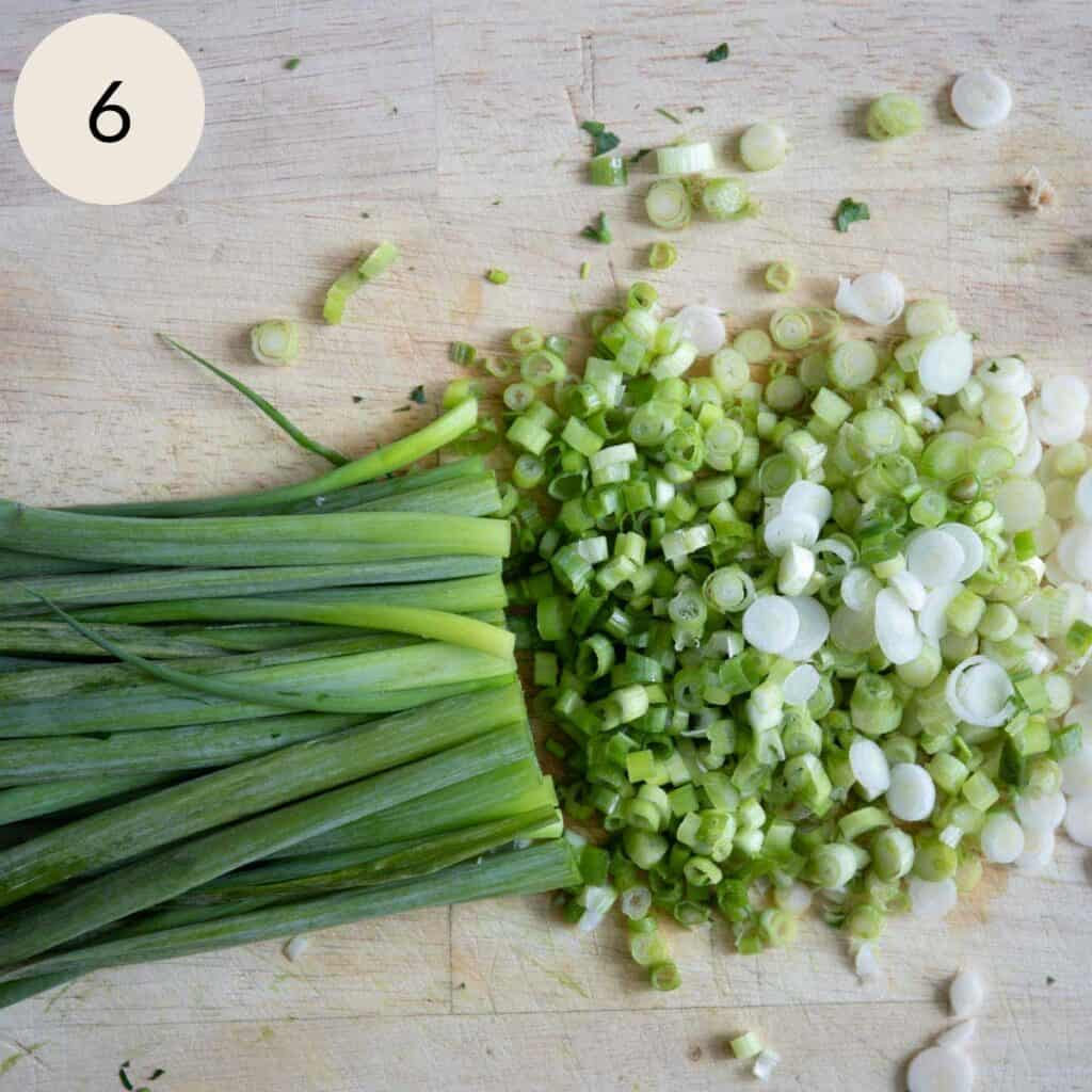 finely chopping the green onions