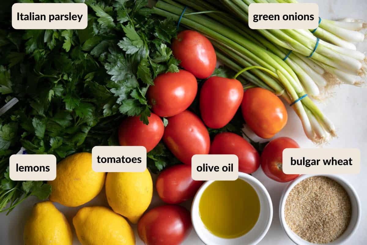 ingredients needed to make bulgar wheat tabouli