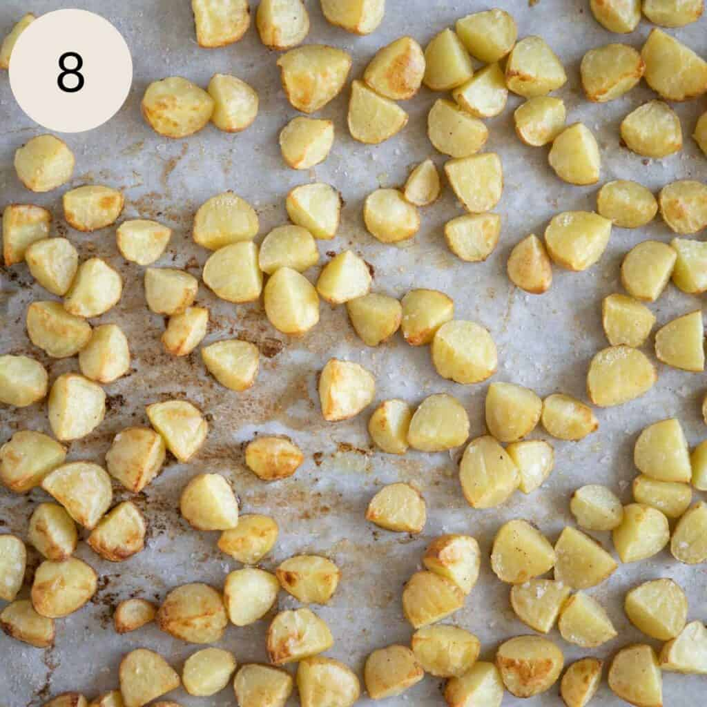 roasted baby gold potatoes on a baking sheet