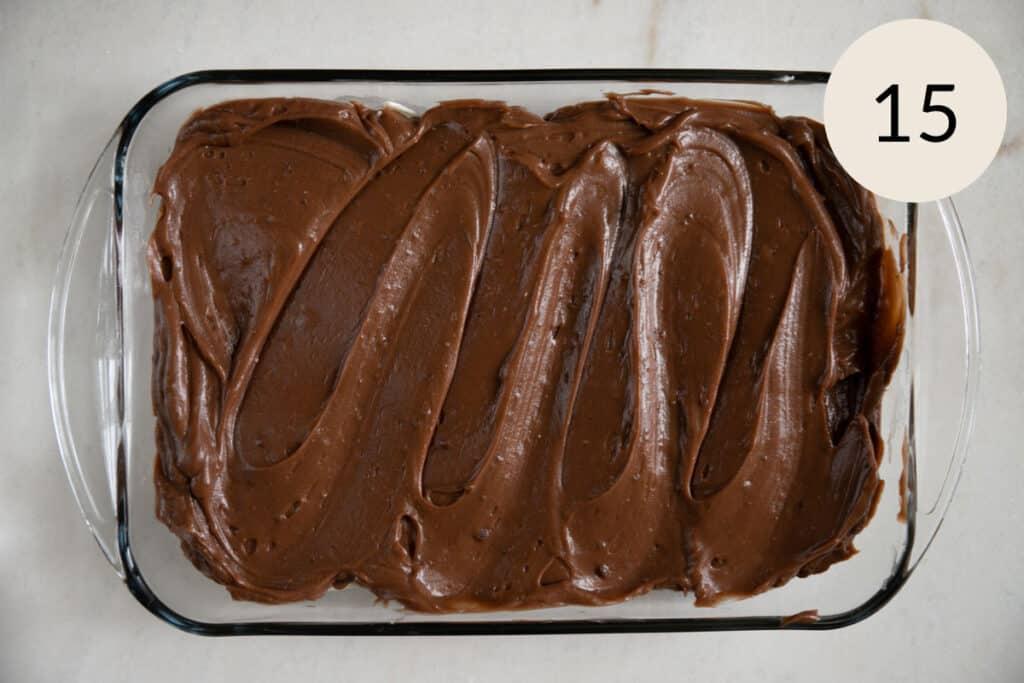 adding the chocolate pudding layer