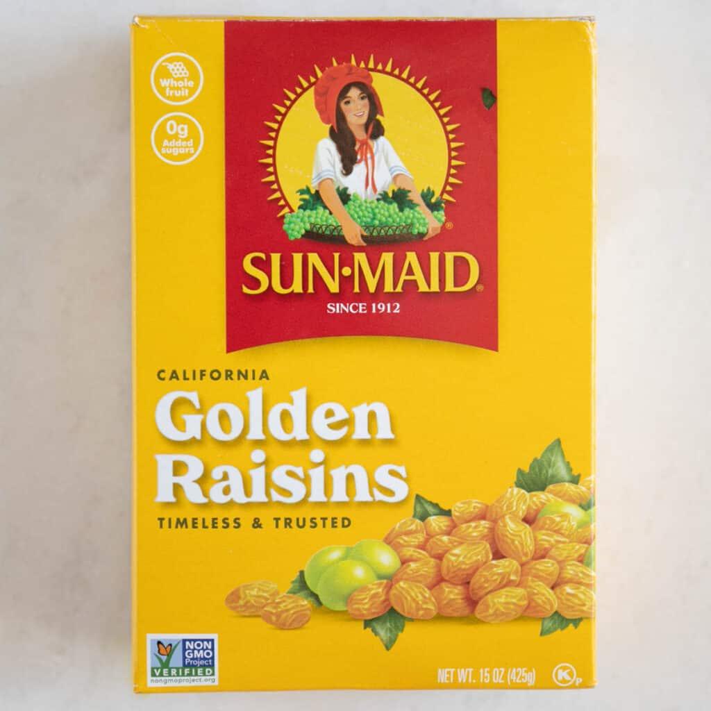 a box of golden raisins on the counter
