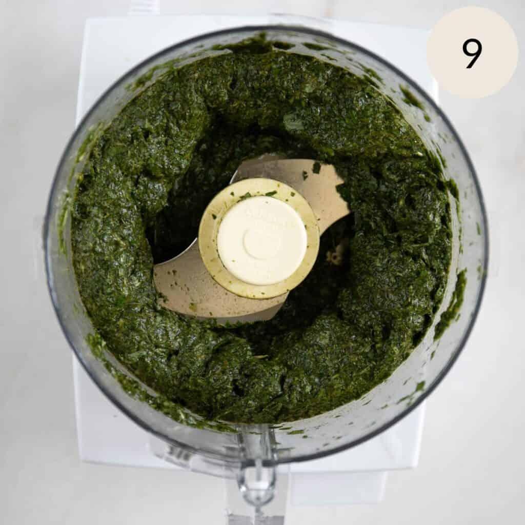minced mulukhiyah in a food processor