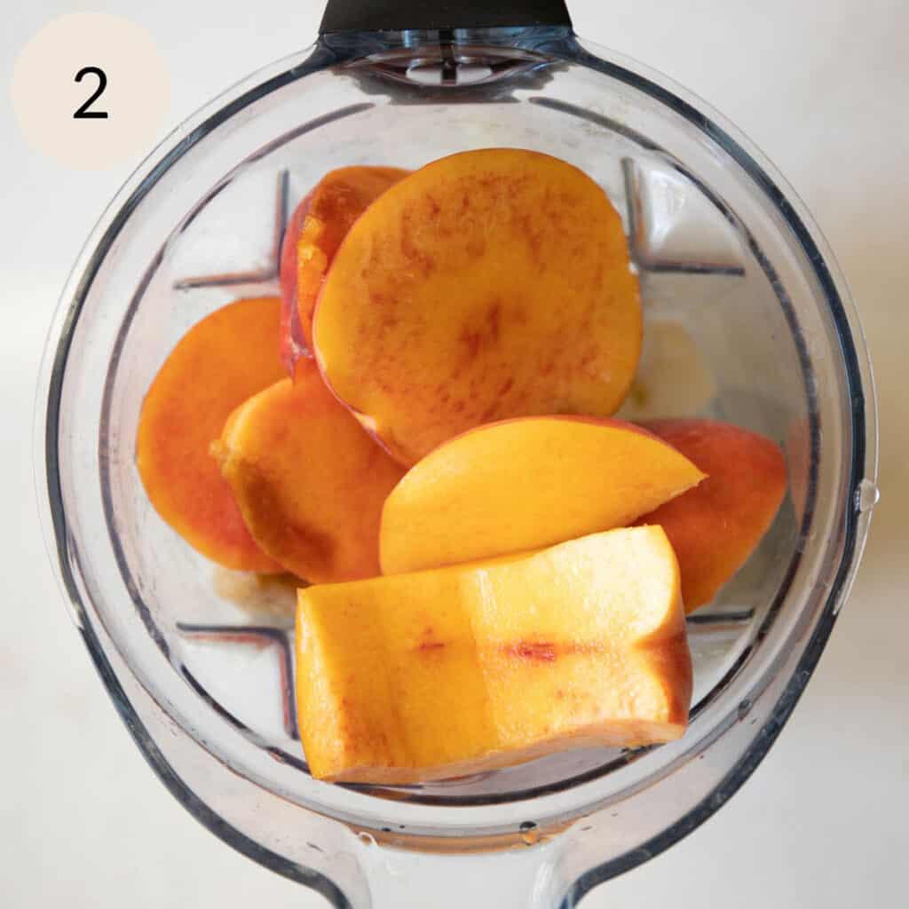 add the fresh peaches, yogurt, and water to the blender