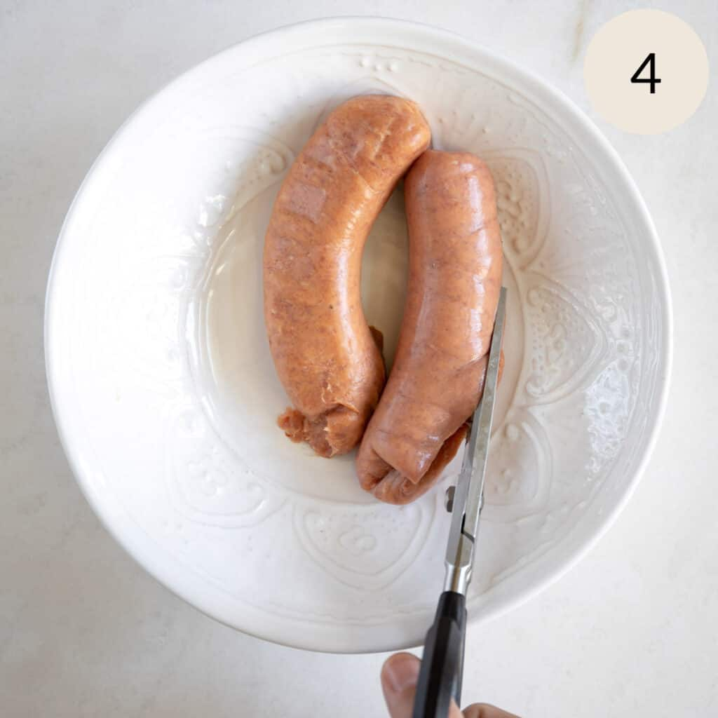 remove the casing from the Italian sausage
