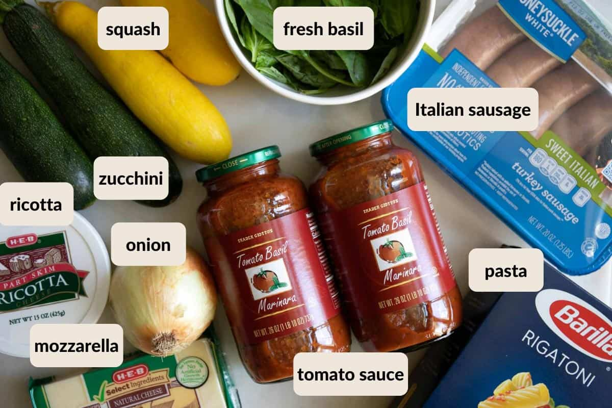 ingredients needed for making ricotta and Italian sausage baked ziti
