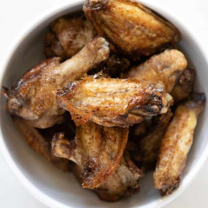 close up view of shawarma spiced crispy baked chicken wings