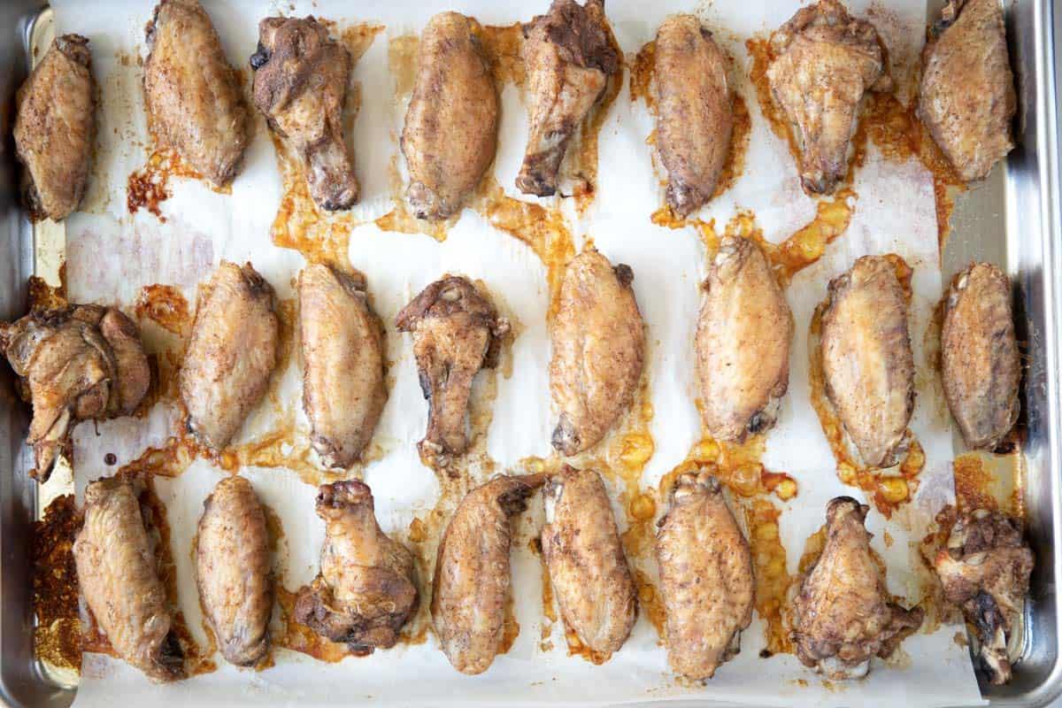 crispy baked chicken wings with shawarma seasoning