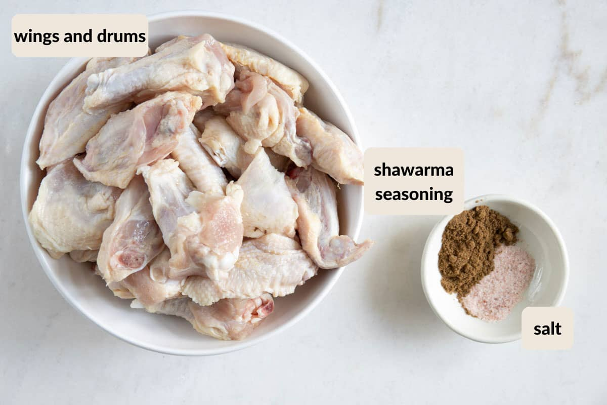 ingredients needed to make chicken shawarma baked wings
