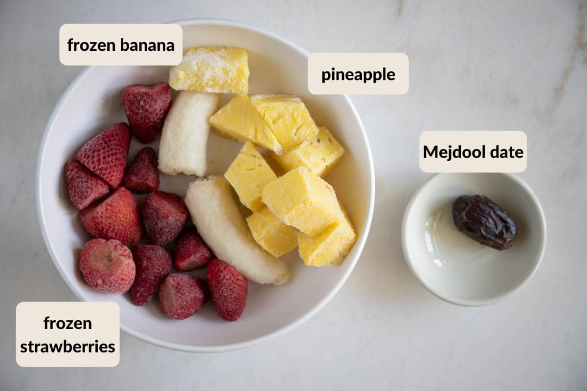 ingredients for strawberry banana pineapple smoothie